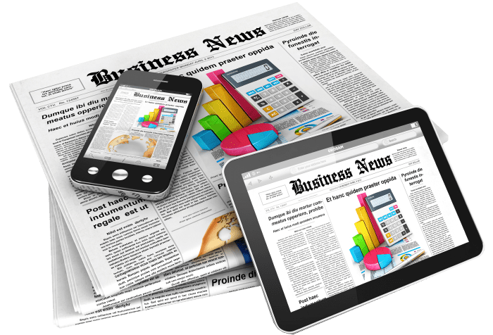 Stack of Newspapers, Cell Phone, and Tablet with Business News Header and News Articles