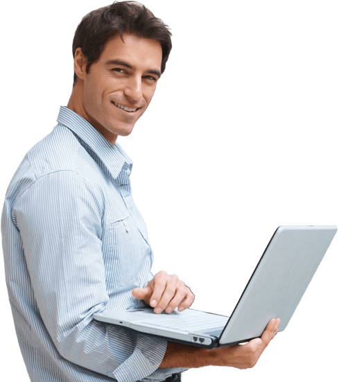 Smiling Man Holding Laptop Computer