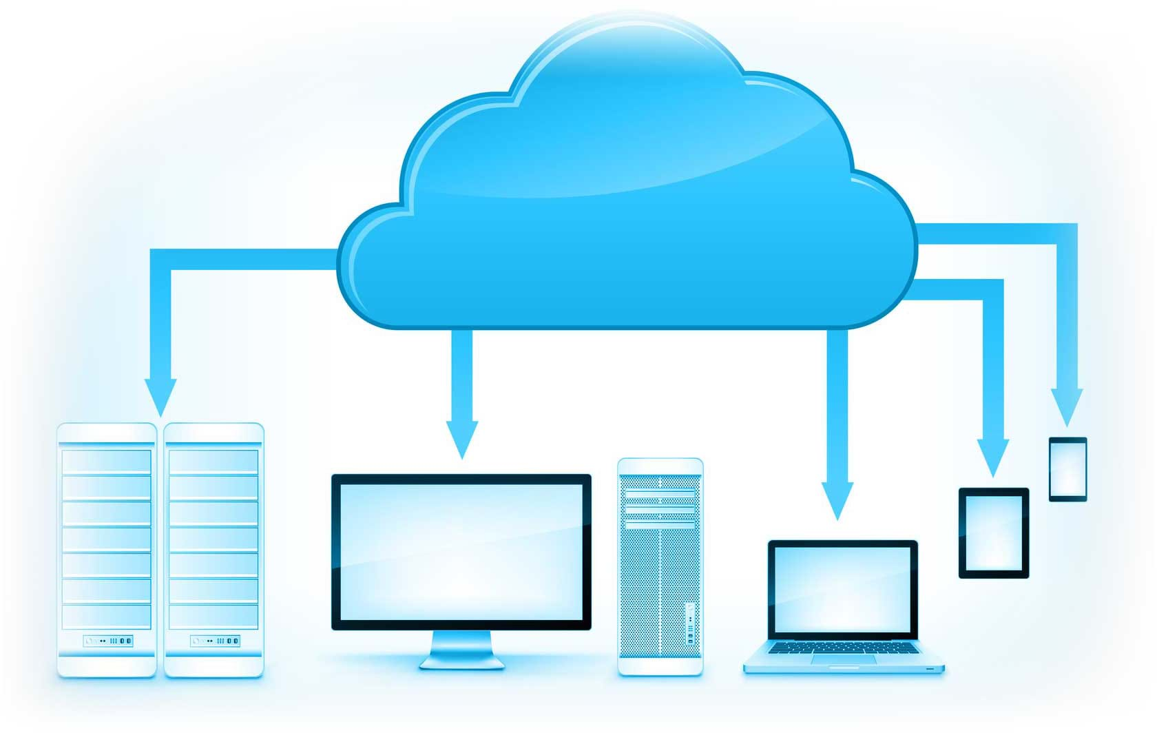 Cloud with Arrows Pointing to Computer and Mobile Devices